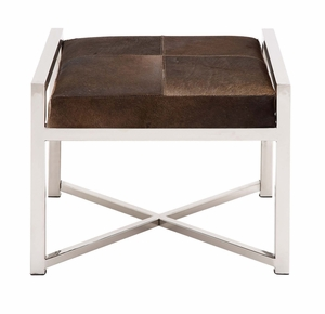 The Stable and Stylish Stainless Steel Brown Leather Stool by Woodland Import