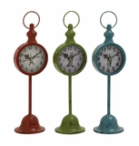 The Statuesque Metal Table Clock 3 Assorted by Woodland Import