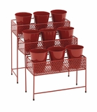 The Stunning Metal 3 Tier Plant Stand Red by Woodland Import