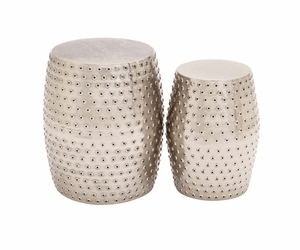 The Stunning Set of 2 Metal Punched Stool by Woodland Import