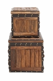 The Stunning Set of 2 Wood Leather Trunk by Woodland Import