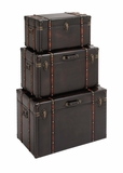 The Stunning Set of 3 Wood Leather Trunk by Woodland Import