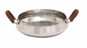 The Stunning Stainless Steel Leather Handle Bowl by Woodland Import