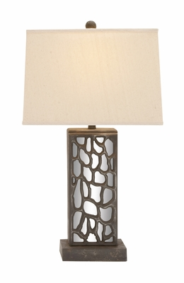 The Stunning Wood Mirror Table Lamp by Woodland Import