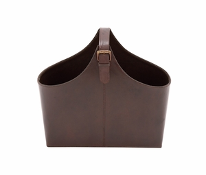 The Stunning Wood Real Leather Magazine Holder by Woodland Import