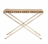 The Stunning Wood Teak Stainless Steel Console by Woodland Import