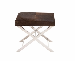 The Stylish Stainless Steel Brown Leather Stool by Woodland Import