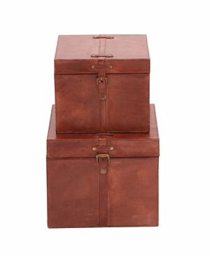 The Suave Set of 2 Wood Real Leather Box - 95910 by Benzara