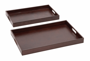 The Suave Set of 2 Wood Real Leather Tray - 95903 by Benzara