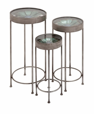 The Super Cool Set of 3 Metal Glass Plant Stand by Woodland Import