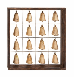 The Temple Wood Metal Bell Frame by Woodland Import