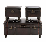 The Timeless Set of 3 Wood Leather Trunk by Woodland Import