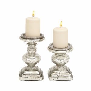 The Traditional Set of 2 Glass Candle Holder by Woodland Import