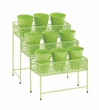 The Ultra Cool Metal 3 Tier Plant Stand Green by Woodland Import