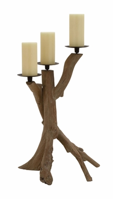 The Unadorned Wood Metal Candle Holder by Woodland Import