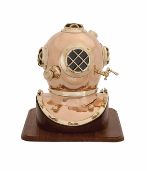 The Unique Metal Wood Diving Helmet by Woodland Import