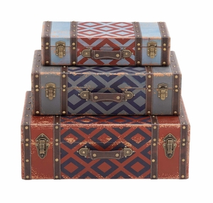 The Withered Set of 3 Wood Leather Case by Woodland Import