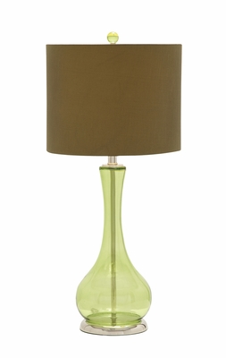 The Yellowish Glass Chrome Table Lamp by Woodland Import