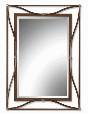 Thierry Bronze Wall Mirror with Iron Frame With Silver Leaf Accents Brand Uttermost