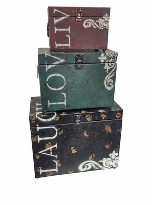 Thoughtful Live Love Laugh Iron Storage Trunk Set of Three Brand Woodland