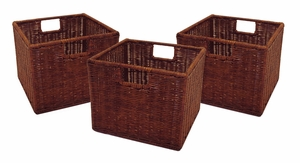 Three Compact Leo Narrow Wicker Small Baskets by Winsome Woods