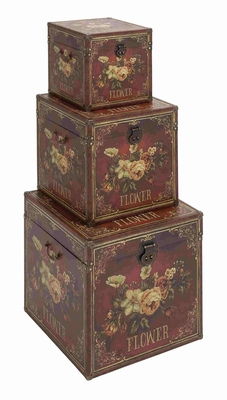 Three Exclusive Wood Leather Trunk Set Brand Benzara