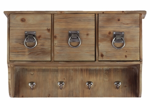 Three Sectioned And Four Hooked Wooden Cabinet
