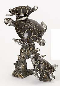 Three Turtles Statue Sculpture Carved with Resin in Bronze Finish Brand Woodland