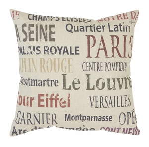 Throw Pillow Decorative Pillow Of Text Print Design - 54127 by Benzara