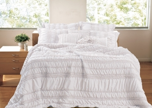 Tiana White Quilt Glamorously Stylized Five-Piece King Set Brand Greenland