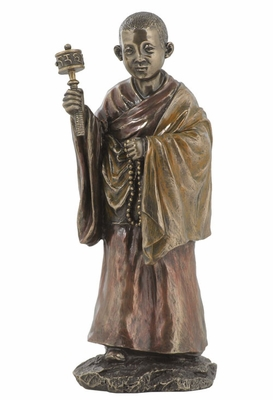 Tibetan Lama Statue Holding Prayer Wheels in Cold Cast Bronze Brand Unicorn Studio