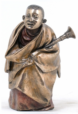 Tibetan Monk Statue with Rag Dung in Cold Cast Bronze Brand Unicorn Studio