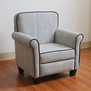 Ticking Stripe with Navy piping Arm Chair by 4D Concepts