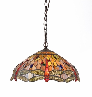 Tiffany -Style Classy Dragonfly Pendant Lamp by Chloe Lighting