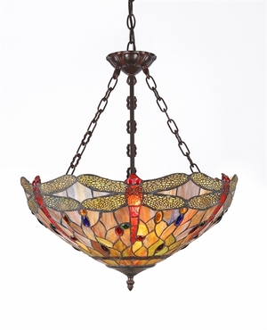 Tiffany-Style Wonderful Dragonfly Pendant Lamp by Chloe Lighting