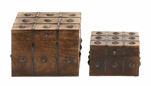 Timelessly Classic Wood Metal Box Set Of 2 - 14470 by Benzara