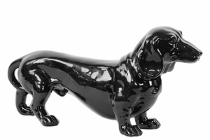Timid Standing Ceramic Black Dog