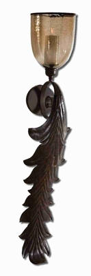 Tinella Wall Sconce With Rust Bronze and Amber Luster Glass Brand Uttermost