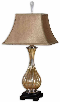 Tisbury Gold Glass Lamp with Satin Detailing in Black Brand Uttermost