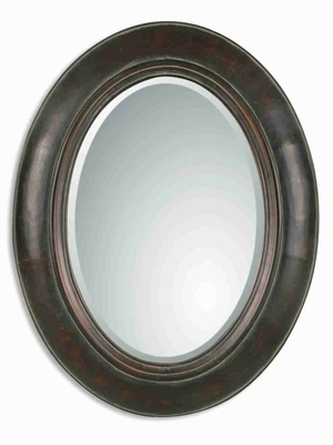 Tivona Wall Mirror with Dark Chestnut and Copper Glaze Brand Uttermost