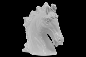 Tokyo's Attractive Ceramic Horse Head Matte White by Urban Trends Collection
