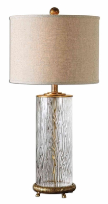 Tomi Glass Table Lamp with Antiqued Detailing in Gold Brand Uttermost