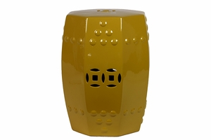Tonga's Fantastic Glossy Ceramic Stool yellow by Urban Trends Collection