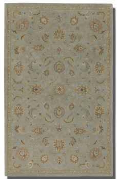 "Torrente Powder Blue 16"" Rug with Beige and Olive Details Brand Uttermost"
