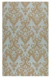 """Toulouse 16"""" Blue Grey Wool Rug with Dark Khaki Damask Pattern Brand Uttermost"""