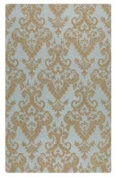 Toulouse 5' Blue Grey Wool Rug with Dark Khaki Damask Pattern Brand Uttermost