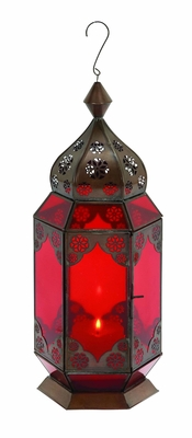 Intricate Design Metal Lantern with Red Glass - 30893 by Benzara
