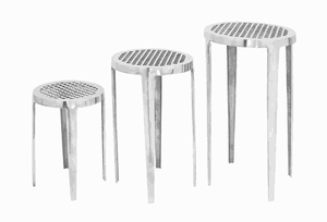 Traditional Aluminium Pedestal with Vivacious Appeal (Set of 3) Brand Woodland