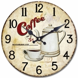 Traditional Circular Wooden Wall Clock with Bottomless Coffee Print by Yosemite Home Decor