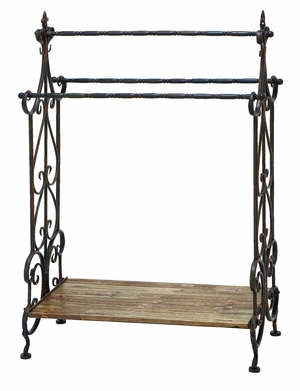 Traditional Designed Wooden and Metal Towel Rack in Black Brand Woodland